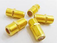 Alta qualità Goldend Dual F-Type F-Type Femmina Barilotto Coaxial Coax Cable Connector Coable Accoppiatore RG6 F81 3GHZ Adattatore / 40pcs