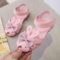 Niños princesa zapatos de cuero niñas niñas sandalias negro rosa blanco conejo arco chicas moda zapatos de verano zapatos de performance 210414
