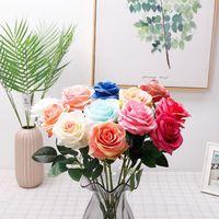 Симулятор одинокая роза цветок девушка друг роза подарок шелковая ткань валентинка день роза свадьба невеста, держа цветочные букеты украшения HWe8224