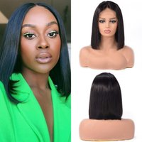 13x4 Cut Bob Wig Short Lace Front Human Hair Mongolian Straight Wigs for Black Women Pre Plucked Bleached Knots