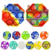 Rainbow Pop it push Bubble Key Chain Sensory jouet Mini Keychain Stress Stress Stress Relève adulte Kid Fidget Toys