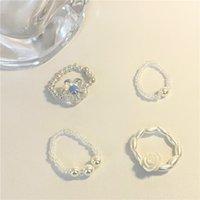 Anello da fiore perla delicato coreano, anello in perline sovrapposto, perline di riso intrecciata, anello di corda elastica regolabile