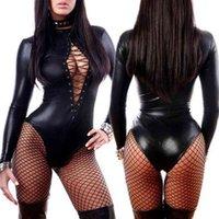 Sexy Women PU Cuero Lencería Body Bodysuits Erotic Leotard Disfraces Caucho Flexible Hot Latex Catsuit Catwomen Porno Nightwear S703