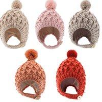 Beanie autumn winter baby hat outdoor thickening warm wool ball Little Red Riding Hood children's knitted skull hats cute hip-hop headdress