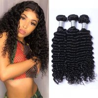 Deep Wave Peruvian Human Hair Weave Water Curly Bundles Extensions Natural Color Non Remy Double Drawn