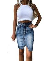 Retro Denim Skirt High Waist Buttock Slim Jeans Skirt Stretch Bodycon Mini Skirt S-XL drop shipping Dress
