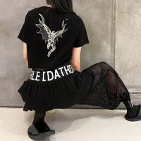 Women's T-Shirt 2021 Summer Loose Personality Crop Tops Chic Print O Neck Short Sleeve Woman Tshirts Fashion Tide High Street T Shirt