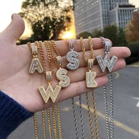 Bling Savage Initial Letters Necklace for Women Stainless Steel 26 A-Z Pendant Shiny Ice Out Chain Necklace Hip Hop Men Jewelry H0918