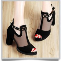 Sandals 2021 Women Pumps High Thick Black Heels Ladies Shoes Rivet Mesh Zipper Open Toe Casual Party Wedding Platform Chunky Sandal