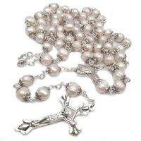 Colares pendentes religiosas naturais de água doce de água doce Rosário de alta qualidade curvada agulha Cruz Colar Católica e pode ser dado como presente rezar