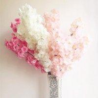 Dekorative Blumen Kränze 6 stücke Gefälschte Kirschblüten Blume Zweig Begonia Sakura Baum Stamm Für Ereignis Hochzeit Deco Künstlich