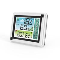 Smart Home Control بلون شاشة تعمل باللمس محطة الطقس التنبؤ في الهواء الطلق الاستشعار الخلفية ميزان الحرارة الرطوبة اللاسلكية الصامت البعيد ساعة