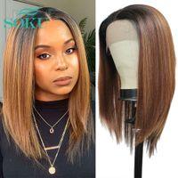 Synthetische Spitze Front Wipe Brown Yaki Haarperücken Socke Lange Freie Teil Perücke Kurzes Babyhaar für schwarze Frauen