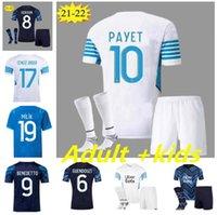 Kit d'enfants adulte Jersey de football olympique de Marseille 2021 2022 om Maillot Foot Payet Thaufin Benedetto 21 22 Milik Football Shirt