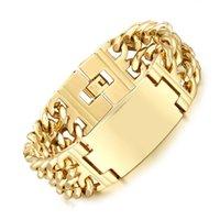 Men Gold Link Chain Stainless Steel Bracelets & Bangles Hip Hop Biker Hand Party Rock Jewelry