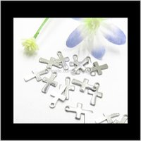 Pendant Necklaces & Drop Delivery 2021 1000Pcs Sier Tone Stainless Steel Small Crucifix Cross Charm Pendants Connectors Diy Findings For Jewe