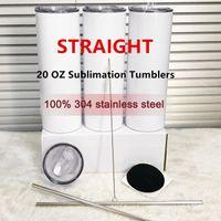 20oz Sublimação em linha de tumblers retas em branco 304 vácuo de aço inoxidável isolado slim magro diy 20 oz carro caneca com tampa de palha de metal FY4275