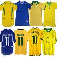خمر كلاسيكي 1998 Brasil Soccer Jerseys 2002 الرجعية قمصان كارلوس روماريو رونالدو رونالدو 2004 كاميسا دي فيوتول 1994 البرازيل 2006 1982 ريفالدو أدريانو