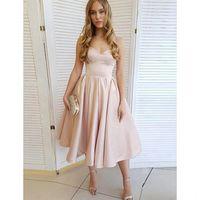Rosa Heimkehr Kleid 2021 Kurze formale Partykleid Cocktailkleider Vestidos de Gala Einfache Satin Tee-Länge Kurzes Abendkleid