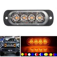 4LED 자동차 스트로브 경고 가벼운 그릴 깜박이는 비상 조명 자동 트럭 트레일러 비콘 램프 LED 사이드 라이트