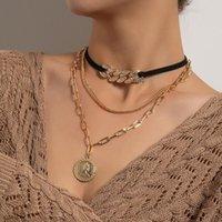 Vintage Pave Kristall Halsketten Für Frauen Mode Multi Layer Samt Leder Halskette 2021 Münze Anhänger Choker Schmuck