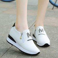Yeni Tembel Bir Pedal Rahat Beyaz Platformu Kadın Sneakers Rhinestone Nefes Yüksekliği Artan Ayakkabı 201217