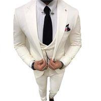 Custom-made One Button Groomsmen Peak Lapel Groom Tuxedos Men Suits Wedding Prom Dinner Man Blazer(Jacket+Pants+Tie+Vest) W918