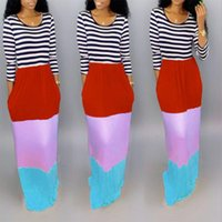 Casual Dresses Women' Cute Rainbow Striped Sexy Dress With Round Neck Long Sleeve Loose Floor-sweeping Length Plus Size
