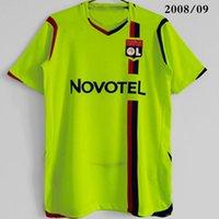 Tops 2008/09 Lyons Retro Jersey Jersey Estrela Benzema 10 Juninho 8 Anderson 9 Pjanic 18 Vintage Futbol Camisas Kit Classic 2009 Away Verde Camisa de Futebol Tamanho S-XXL Jerseys