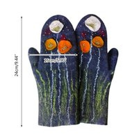 Pięć palców Rękawiczki Kobiety Zima Faux Cashmere Full Finger Floral Wolf Cat Animal 3D Print Zagęścić Ciepłe Wiatroszczelne rękawice termiczne