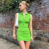 PUWD Casual Woman Green Slim Sleevless Knitted Short Dress Summer Fashion Ladies Mini Laides Streetwear Polo 210522