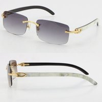 Großhandel verkauft stil 8200757 sonnenbrille original echt natürlich schwarz schwarz und weiß vertikal streifen büffel horn randlos 8200758 männliche weibliche gläser unisex