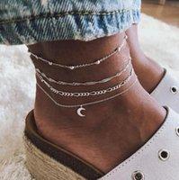 Vintage antike silberne farbe anklett frauen 4 schichten perlen mond geometrisches armband charme böhmischen knöchel boho fußschmuck anklets