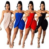 Roupas de grife 2021 vestido verão moda sexy mulheres irregular fora ombro plissado strapless noite clube sólido cor plus size vestidos mulheres