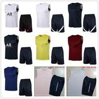 Män Fotbollsträning Kit 2122 Sommar Ärmlös Skjorta Shorts Fotboll Vest Jogging TrackSuits Suit