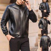 Men's Jackets Men Leather Jacket Casual Winter Warm Top Blouse Thickening Fashion Biker Motor Coat Outwear Outerwear