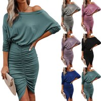 Casual Dresses womens dress sexy Cross border autumn winter new women long sleeve middle skirt solid color diagonal shoulder slim fit wrinkled Hip Wrap Dress