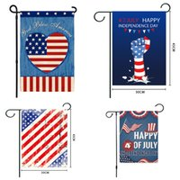 4 Temmuz Süslemeleri Vatanseverlik Bahçe Bayrak Çift Taraflı Hoşgeldiniz Şerit Ve Yıldız Afiş Bayrakları Anma Günü Amerika Rustik Mevsim Açık Yard HH21-384