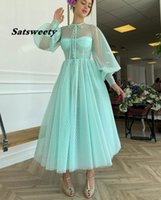 Turquoise Green Dotted Tulle Tea Length Prom Dresses With Buttoned Top O-Neck Long Puff Sleeves Homecoming Party Dress