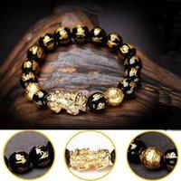 Schwarzer Obsidian Reichtum verstellbar veröffentlicht negative Energien Gold Pi Xiu Lucky Rich Amulettarmband