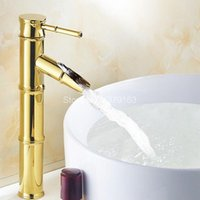 Bathroom Sink Faucets Polished Gold Color Brass Single Handle Lever Deck Mounted Hole Faucet Vessel Basin Mixer Tap Anf086