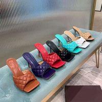 Designer frauen lammkin gepolstert sandalen grid quadrat toe flache hausschuhe multicolor high heels slipper Allmatch Stylist Schuhe Ferse 9 cm