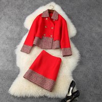 Women's Tracksuits HIGH QUALITY 2021 Winter Fashion Designer Runway Suit Set Double Breasted Wool Blends Jacket Skirt