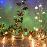 Украшение партии 2.2M USB светодиодные струнные света искусственные розовые цветы ягоды фея свадебный декор фонар с 20 теплым белым