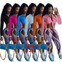 Kadın Eşofman Tasarımcısı Giysileri Iki Parçalı Kıyafetler Gece Kulübü Seksi Baskılı Kıyafetler Katlanmış Işlemeli Tops 2021 Güz Kadın Giyim