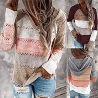 Women Patchwork Hooded Sweaters Long Sleeve V-neck Knitted Sweater Casual Striped Pullover Jumpers Female Hoodies
