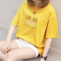 Women's T-Shirt CEC Summer Short Woman With 155 High Letters Student Round Neck Sleeve
