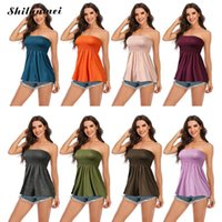 Women's Tanks & Camis Casual Sollid Off-Shoulder Sleeveless T-Shirt Plus Size 3XL Strapless Tops Summer Women Vest Tank Tube Top Ladies Holi