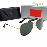 Большие 228 Солнцезащитные очки Высококачественные Унисекс Рамка FullRim 60-13-145 Мода металлический пилот для очков рецепт Многоцветная полоса в цель LFPM