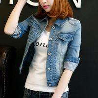 Women's Jackets 2021 Autumn Winter Woman Fashion Cowboy Coat Slim Short Wild Lady Jacket Harajuku Single-breasted Female Light Blue